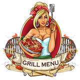BBQ Grill Party label design Royalty Free Stock Images