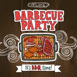 Bbq Grill Party Poster Royalty Free Stock Photography