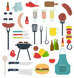 Bbq grill party stuff set vector illustration