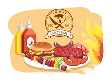 BBQ Grill, Party Time, Color Vector Illustration. Label with meat fork and knife, stripe with text sample, lot of barbecue meat, sauces set, big flame Stock Images
