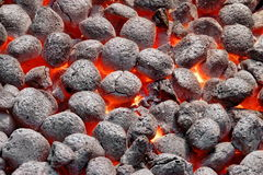 BBQ Grill Pit With Glowing Hot Charcoal Briquettes, Closeup Stock Images