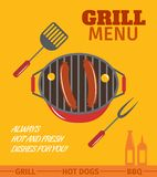 Bbq grill poster. Bbq grill menu restaurant always hot and fresh dishes poster vector illustration Royalty Free Stock Photo
