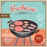 Bbq grill poster. Bbq grill party best choice flyer promo restaurant poster vector illustration Stock Photos