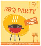 Bbq grill poster. Bbq grill party best in town flyer promo restaurant poster vector illustration stock illustration