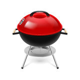 BBQ grill red. BBQ grill with red cap on white vector illustration