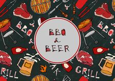 BBQ and Grill. Seamless Pattern of Summer BBQ Grill Party. Beer, Steak, Sausage, Barbeque Grid, Tongs, Fork. Black Board Backgroun. D and Chalk. Hand Drawn vector illustration
