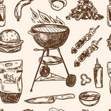 Bbq Grill Sketch seamless pattern Hand Drawn royalty free illustration