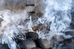 BBQ Grill with Smoke  - Closeup Royalty Free Stock Image