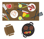 Bbq grill table party mess Royalty Free Stock Photos
