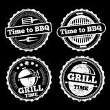 BBQ and grill time grunge labels design vector illustration