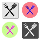 BBQ or grill tools. Crossed barbecue fork with spatula. flat vector icon royalty free illustration