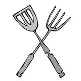 BBQ or Grill Tools Icon. Crossed Barbecue Fork with Spatula. Isolated On a White Background. Realistic Doodle Cartoon Style Hand D stock illustration