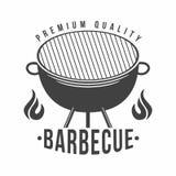 BBQ Grill- und Grillrestaurantlogo, Menüelement, Aufkleber oder Ausweis lizenzfreie abbildung