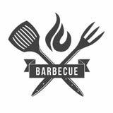 BBQ Grill- und Grillrestaurantlogo, Menüelement, Aufkleber oder Ausweis vektor abbildung