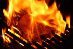 BBQ Grill With Fire Stock Photography