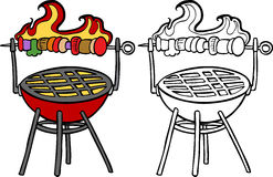 BBQ Grill With Kabob Stock Photo