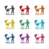 BBQ grilla czasu ikona, koloru set royalty ilustracja