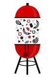 Bbq grilla niecki czerwieni czerń Zdjęcie Stock