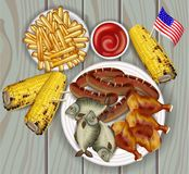 BBQ, Grilled corn, fish and french fries Vector realistic. Delicious fast food products. Detailed Templates. BBQ, Grilled corn, fish and french fries Vector royalty free illustration