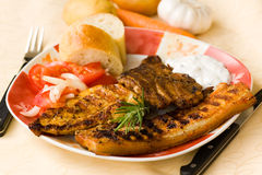 Bbq , Grilled Cutlet And Bacon With Salad Stock Photo
