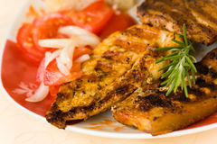 Bbq , grilled cutlet and bacon with salad Royalty Free Stock Photos