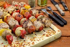 BBQ Grilled Mixed With Vegetables Pork Kebabs Royalty Free Stock Photography