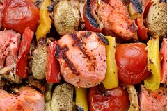 BBQ Grilled Mixed With Vegetables Pork Kebabs Stock Image