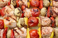BBQ Grilled Mixed With Vegetables Pork Kebabs Royalty Free Stock Images