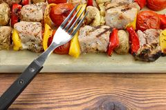 BBQ Grilled Mixed With Vegetables Pork Kebabs Stock Photography