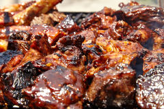 BBQ Grilled pork ribs on the grill Royalty Free Stock Photography