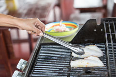 BBQ grilled squid Stock Image