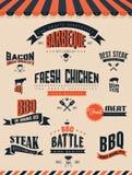 BBQ Grillelementen en etiketten Stock Afbeeldingen