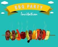 Bbq-grillfestmeny, partiinbjudan Infographics Arkivfoton