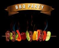 BBQ grillfestmeny, partiinbjudan Infographics Arkivfoto
