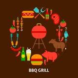 BBQ Grillprentbriefkaar Royalty-vrije Stock Foto