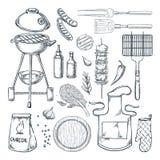 Bbq-Grillvektor-Skizzenillustration Draufsichtgegenstandsatz, lokalisiert auf wei?em Hintergrund Picknickmen?gestaltungselemente lizenzfreie abbildung
