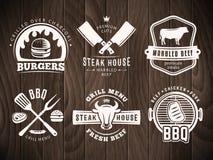 BBQ, hamburger, distintivi della griglia Fotografie Stock Libere da Diritti