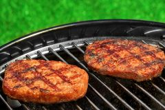 BBQ Hamburger Patties On The Hot Charcoal Grill Royalty Free Stock Photo