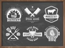 Bbq, hamburguesa, insignias de la parrilla Imagen de archivo libre de regalías