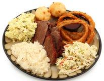BBQ het Zuidelijke Diner van het Borststuk van het Rundvlees stock foto