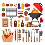 Bbq-hjälpmedeluppsättning Isolerade beståndsdelar för grillfest galler Plan stil, ve royaltyfri illustrationer