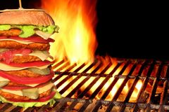 BBQ Homemade Big Cheeseburger  On The Hot Charcoal Grill Stock Photos