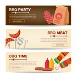BBQ Horizontal Promo Banners Vector. Barbecue Web Background. Grilled Meat Assortment. Grilled Steak, Sausages. Vegetables. Isolated Stock Image