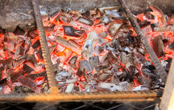 BBQ with Hot Coals for Cooking Meat Royalty Free Stock Images