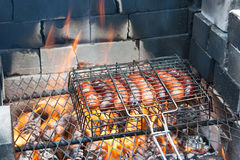 BBQ Hot Dogs (sausages) Stock Images