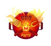 BBQ Hot Party Barbeque Icon Vector Illustration. BBQ hot party barbeque isolated icon vector with text. Frying pan fire and flames and cutlery flatware. Barbecue stock illustration