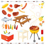 BBQ icon. Food and equipment used in the construction of barbecue Royalty Free Stock Photo