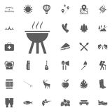 BBQ icon. Camping and outdoor recreation icons set.  Stock Photo