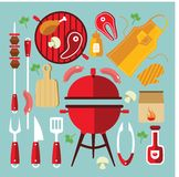 Bbq Icon Flat Set. Icon flat set with different tools and accessories for picnic or party with BBQ vector illustration Stock Images