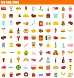 100 bbq icon set, flat style. 100 bbq icon set. Flat set of 100 bbq icons for web design royalty free illustration